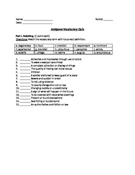 Antigone- Vocabulary Terms Worksheet, Quiz, and Answer Key with Modifications