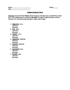 Antigone- Vocabulary Terms Worksheet, Quiz, and Answer Key