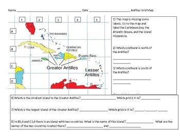 Antilles Grid Map and Islands Practice