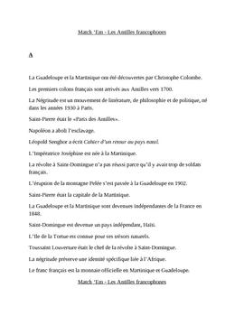 Antilles françaises French Match 'Em