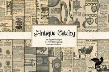 Antique Catalog Digital Paper, printable ephemera from vintage sources