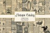 Antique Catalog Digital Paper, printable ephemera from vin