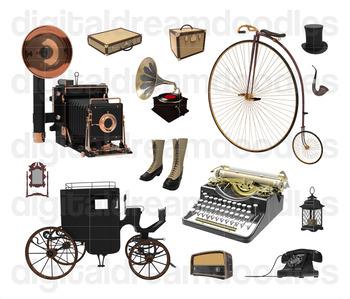 Antique Clip Art - Vintage Typewriter and Camera Digital Graphics