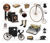 Antique Clip Art - Vintage Typewriter and Camera Digital Graphics