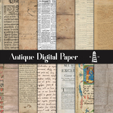 Antique Digital Paper, Tattered Backgrounds, Old Vintage Book Pages