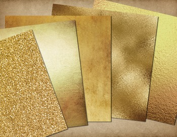 Antique Gold Textures Digital Paper, gold foil leaf scrapbooking backgrounds