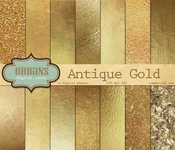 Antique Gold Textures Digital Paper, gold foil leaf scrapb