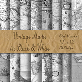 Antique Maps Digital Paper - Old Vintage Maps - 8.5x11 and 12x12 Sizes