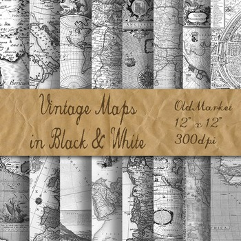 Antique Maps Digital Paper - Old Vintage Maps - 8.5x11 and