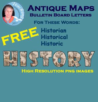 Antique Maps Bulletin Board Letters Sampler