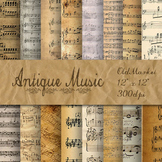 Antique Music Digital Paper Pack - 16 Different Papers - 12inx12in