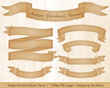 Antique Parchment Banners, 7 Hand Drawn Vintage Banner Clip Art Images