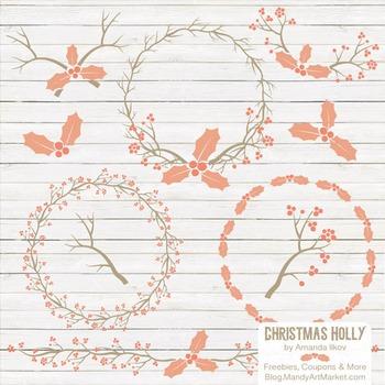 Antique Peach Christmas Holly Clipart