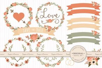 Antique Peach Wedding Floral Clipart & Vectors - Flower Clip Art, Banners