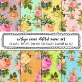 Antique Roses Digital Paper, Floral Patterns Digital Backgrounds, Roses