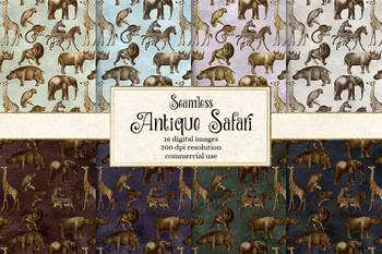 Antique Safari seamless patterns, digital paper and clipart