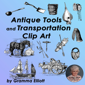 Antique Transportation and Tools Clip Art - Vintage Style