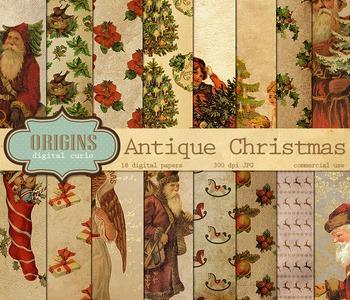 Antique Vintage Christmas Digital Scrapbook Paper Backgrounds