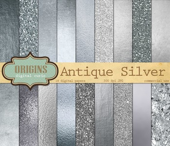 Antique silver digital paper scrapbooking metallic glitter