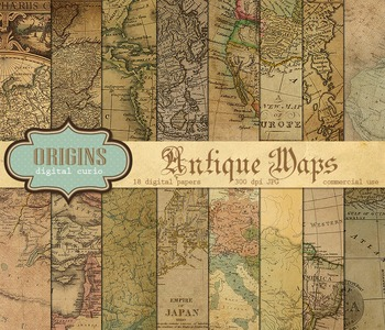 Antique vintage maps digital scrapbook paper backgrounds