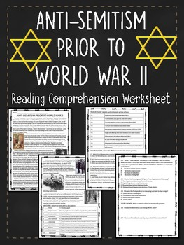 Antisemitism Prior to World War II Reading Comprehension Worksheet, Holocaust