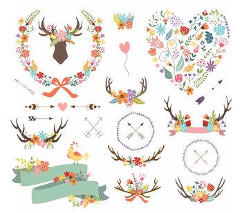 Antler Clipart, Arrow Shabby Branch Bird Banner  Bouquet Tribal Deer Head Summer