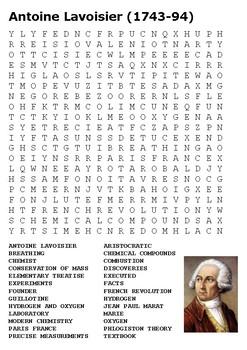 Antoine Lavoisier (1743-94) Word Search