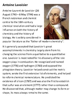 Antoine Lavoisier Handout