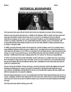 Antonie van Leeuwenhoek Biography Article and (3) Assignments