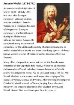 Antonio Vivaldi Handout
