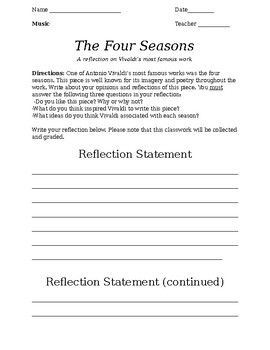 Antonio Vivaldi's The Four Seasons: Listening Reflection