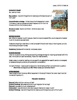 Antonio's Music Guided Reading Lesson Plan - Level J