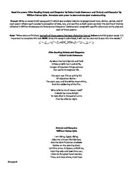 Antony & Cleopatra Poetry Analysis Prompt