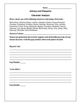 Antony and Cleopatra Character Analysis Activity - William Shakespeare
