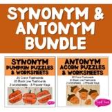 Antonym Acorn & Synonym Pumpkin Puzzles & Worksheets BUNDLE- Fall- Speech & Lang