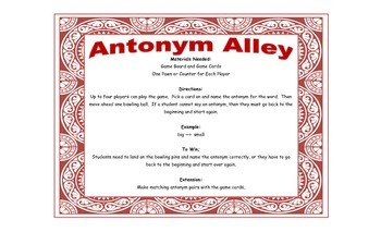 Antonym Game - Antonym Alley for Workstations and Small Groups