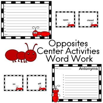 Word Work Opposites (Antonyms) 148 Cards for Center Activities