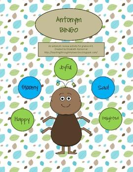 Antonym BINGO 4-7 Grade Vocabulary