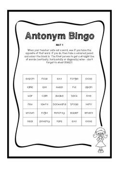 Antonym Bingo