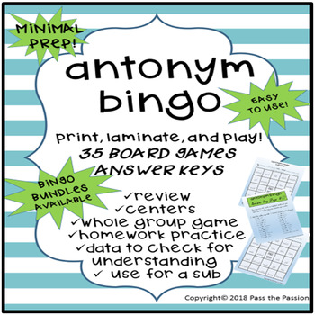 Antonym Bingo Game-Whole Group or Centers (36 boards, 48 Pairs of Words)