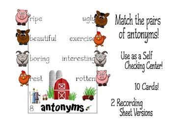Antonym Challenge Activity Center