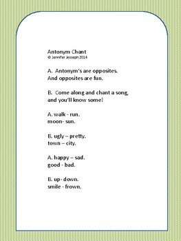 Antonym Chant, rhymes