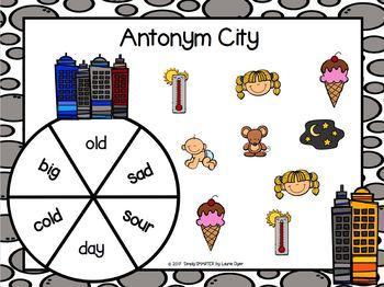 Antonym City:  NO PREP City Themed Antonym Spin and Cover Game