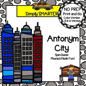 NO PREP City Themed Antonym Spin and Cover Game