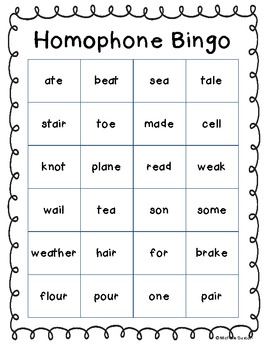 Antonym, Contraction, Homophone, Synonym Bingo Boards