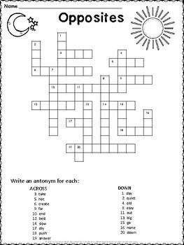 Antonym Crossword Puzzles