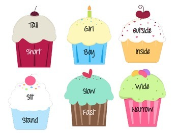 Antonym Cupcakes - 48 Matching Pairs in a Fun, Interactive Game!