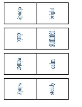 Antonym Dominoes for Winter