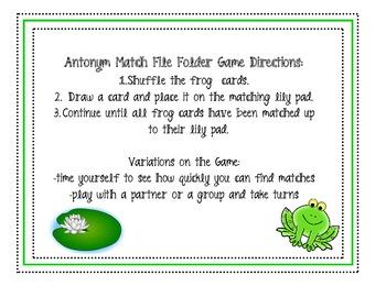 Antonym File Folder Matching Game