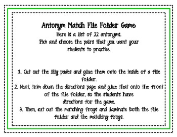 Antonym File Folder Matching Game
